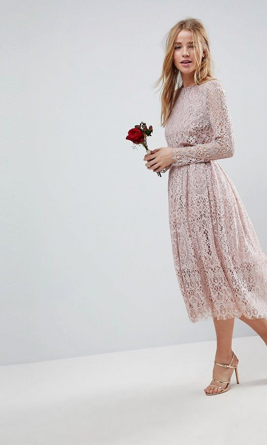 5113a7d0aec Lace Long Sleeve Midi Prom Dress bridesmaid dress - ASOS  SS18 ...