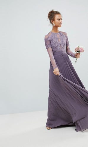 ASOS SS18 Bridesmaids Long Sleeve Lace Pleated Maxi Dress