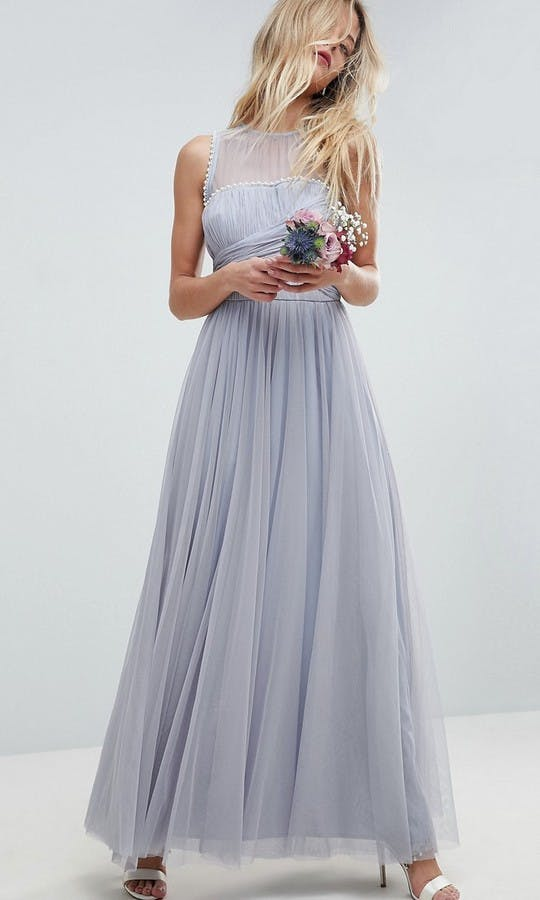 ASOS SS18 Bridesmaids Maxi Prom Dress with Pearl Trim
