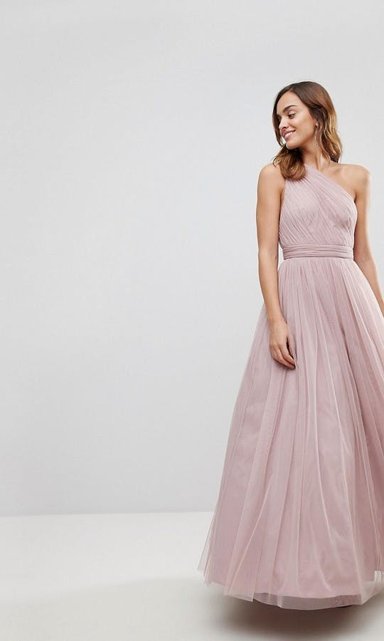 63dbb337148 Tulle One Shoulder Maxi Dress bridesmaid dress - ASOS  SS18 ...