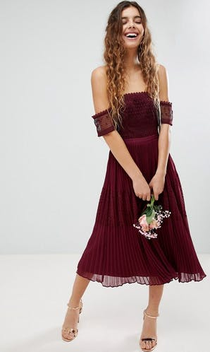 ASOS SS18 Bridesmaids Guipure Lace Panelled Midi Dress