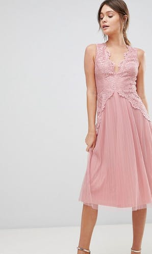 ASOS SS18 Bridesmaids Lace Top Mesh Pleated Midi Dress