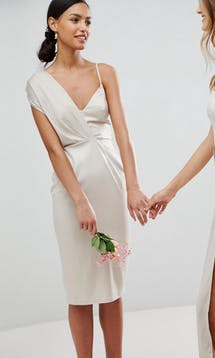 ASOS SS18 Bridesmaids Satin Pencil Midi Dress with Tie Back #6