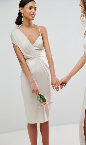 ASOS SS18 Bridesmaids Satin Pencil Midi Dress with Tie Back