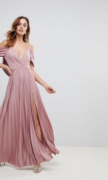 ASOS SS18 Bridesmaids Cold Shoulder Cowl Back Pleated Maxi Dress #3