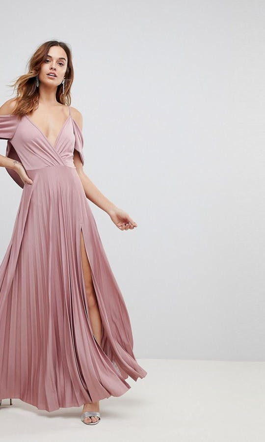 ASOS SS18 Bridesmaids Cold Shoulder Cowl Back Pleated Maxi Dress