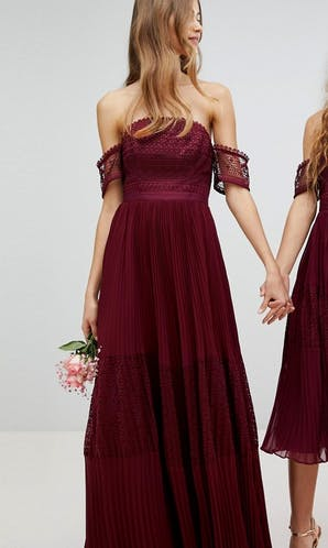 ASOS SS18 Bridesmaids Guipure Lace Panelled Maxi Dress