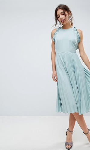 ASOS SS18 Bridesmaids Pleated Midi Dress With Ruffle Open Back