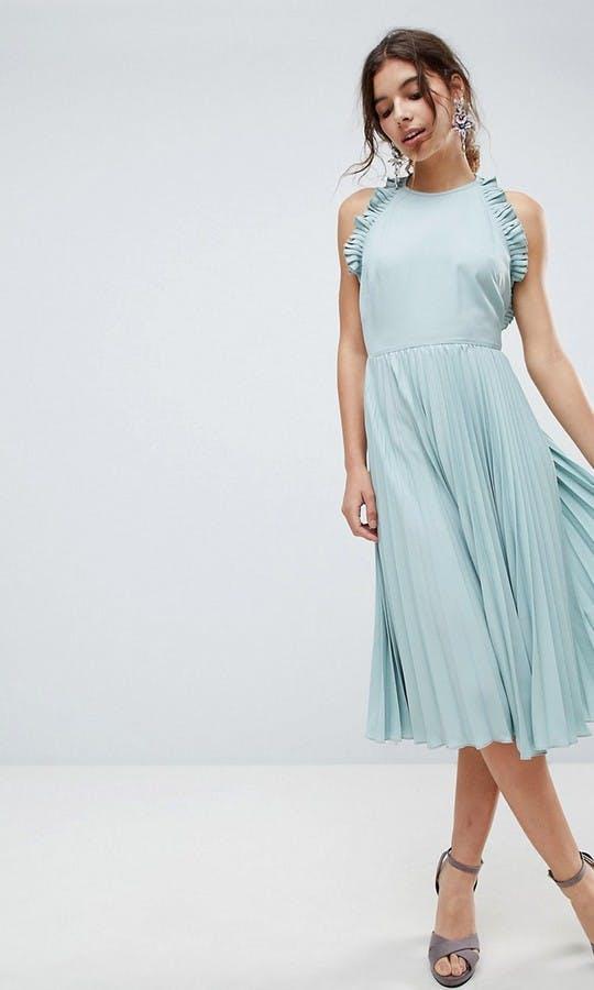 Pleated Midi Dress With Ruffle Open Back Bridesmaid Dress