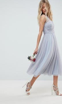 ASOS SS18 Bridesmaids Midi Prom Dress with Pearl Trim #12
