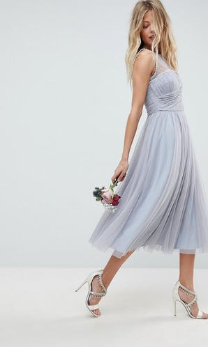 ASOS SS18 Bridesmaids Midi Prom Dress with Pearl Trim