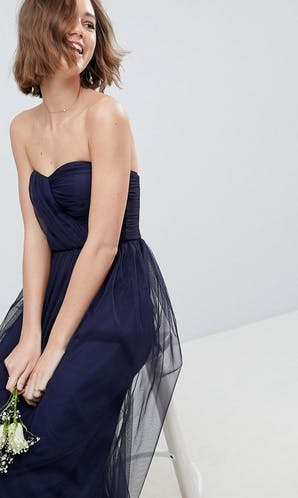 ASOS SS18 Bridesmaids Bridesmaid Bandeau Tulle Maxi Dress