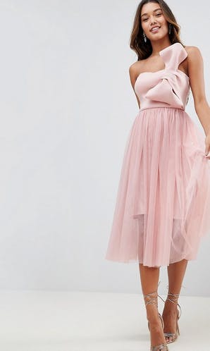 ASOS SS18 Bridesmaids Scuba Bow Front Tulle Midi Dress