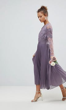 ASOS SS18 Bridesmaids Long Sleeve Lace Pleated Midi Dress #7