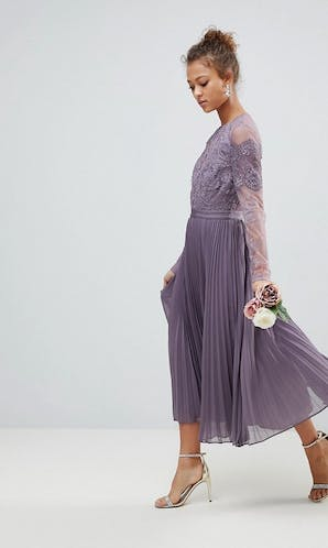ASOS SS18 Bridesmaids Long Sleeve Lace Pleated Midi Dress