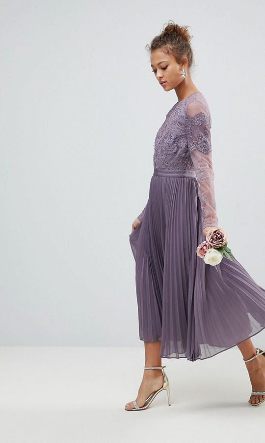 a54aa8751b8 Long Sleeve Lace Pleated Midi Dress bridesmaid dress - ASOS  SS18 ...