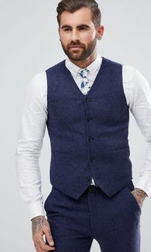 ASOS Mens Occasion Wear SS18 Super Skinny Waistcoat In Blue Micro Check #3
