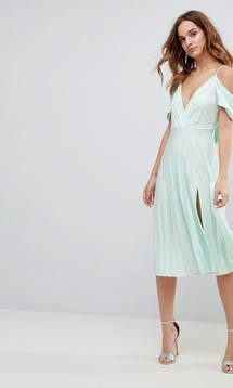 ASOS SS18 Bridesmaids Cold Shoulder Cowl Back Pleated Midi Dress #21