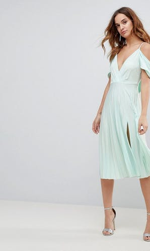 ASOS SS18 Bridesmaids Cold Shoulder Cowl Back Pleated Midi Dress