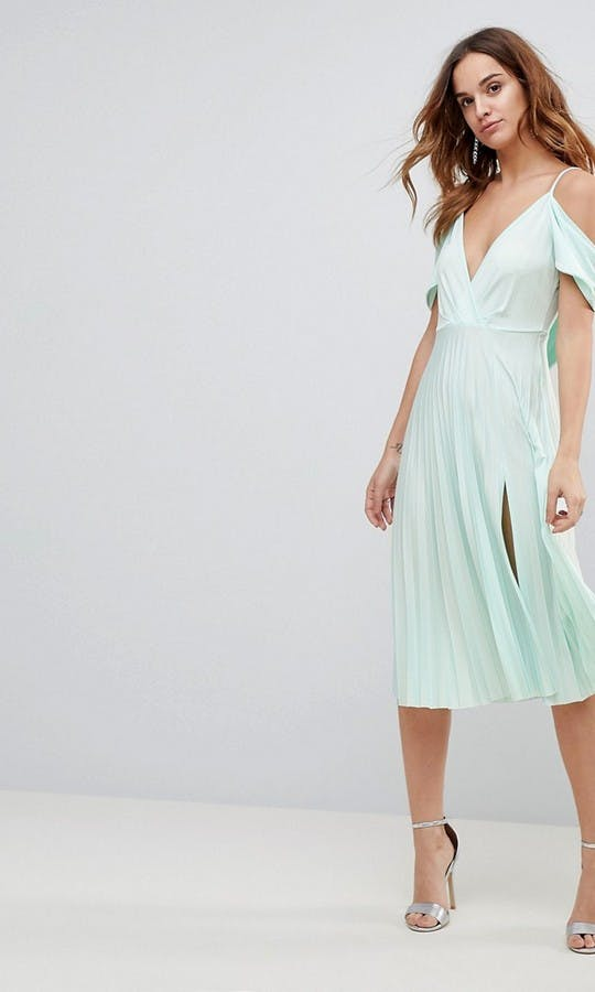 073a9860998b ASOS. SS18 Bridesmaids. Style  Cold Shoulder Cowl Back Pleated Midi Dress