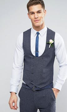 ASOS Mens Occasion Wear SS18 Super Skinny Waistcoat in Mini Check In Blue #29