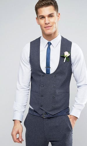 ASOS Mens Occasion Wear SS18 Super Skinny Waistcoat in Mini Check In Blue