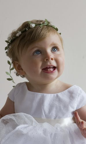 491911e172 Recommended Flower Girl Dresses   Outfits. Little Eglantine Baby Flower  Girls White Floral Headdress