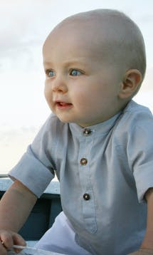 Little Eglantine Baby Page Boys Baby Boy Grey Cotton Shirt #3