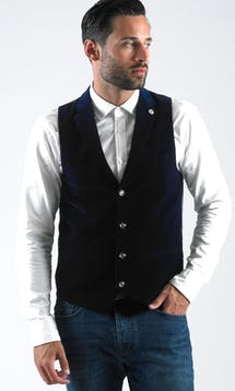 Marc Darcy Waistcoats Jo Velvet - Light Navy #1