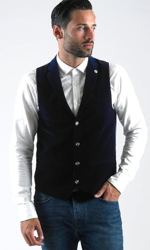 Marc Darcy Waistcoats Jo Velvet - Light Navy