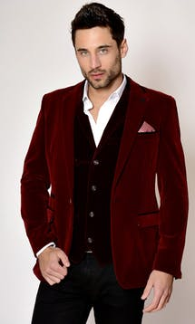 Marc Darcy Wedding Suits Wine Velvet Blazer #14