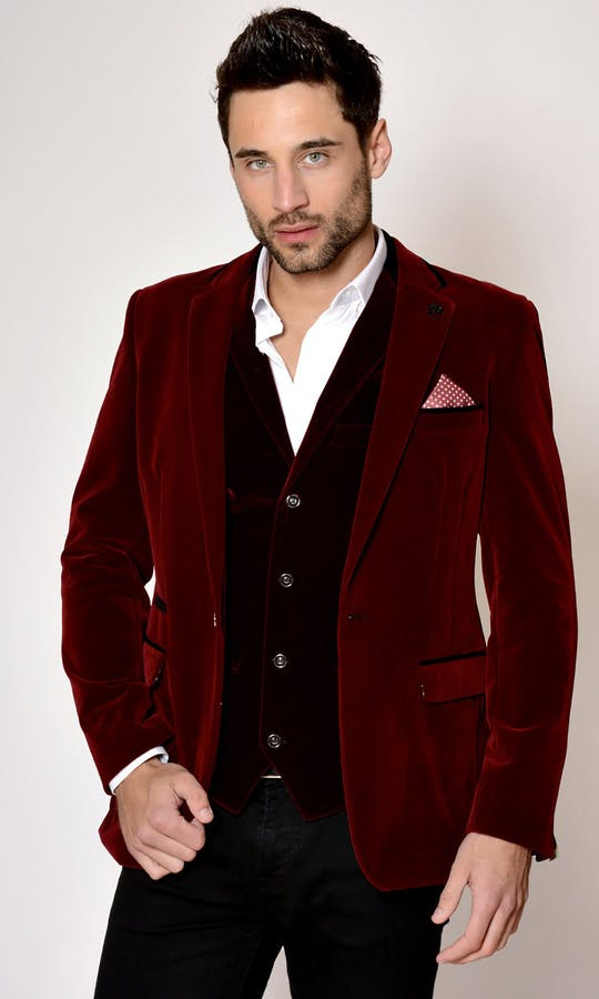 Marc Darcy Wedding Suits Wine Velvet Blazer