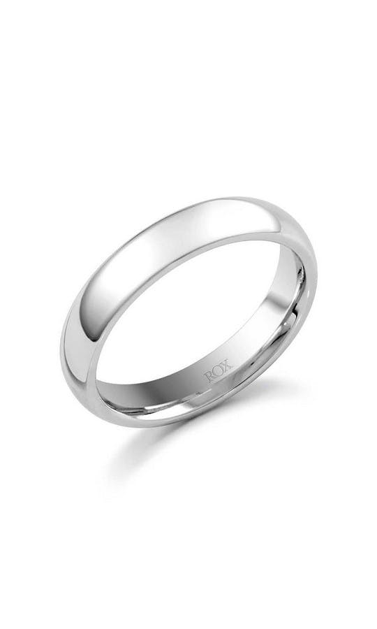 ROX Men's Wedding Rings Gents Palladium Court Wedding Ring 4mm