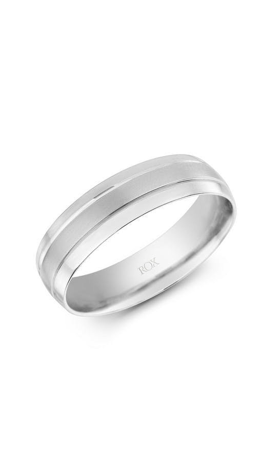 ROX Men's Wedding Rings Gents Palladium Flat Court Fancy Wedding Ring 6mm
