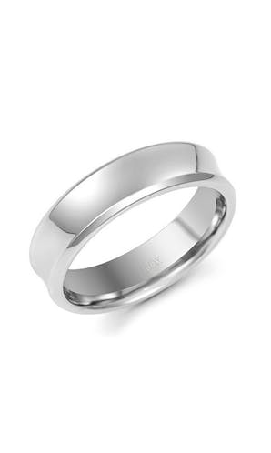 ROX Men's Wedding Rings Gents Palladium Fancy Polished Concave Wedding Ring 6mm