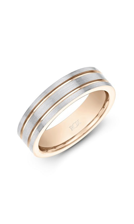 Mens Palladium And Rose Gold Fancy Wedding Ring 6mm Wedding