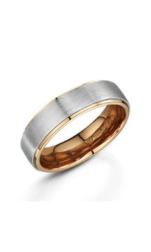 ROX Men's Wedding Rings Gents Palladium and Rose Gold Wedding Ring 6mm #36