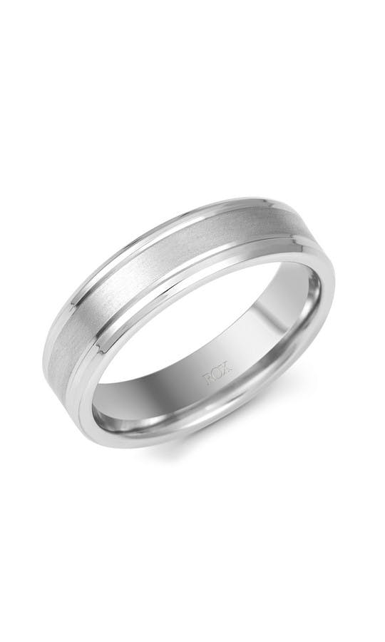 ROX Men's Wedding Rings Gents Palladium Matt and Polish Wedding Ring 6mm