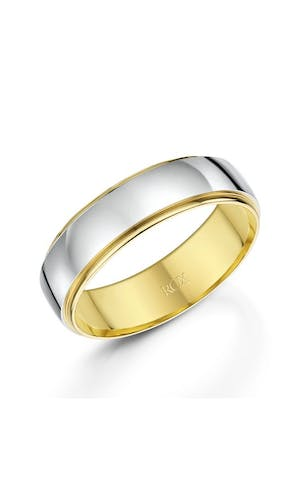 ROX Men's Wedding Rings Gents Palladium and Yellow Gold Fancy Court Wedding Ring 6mm
