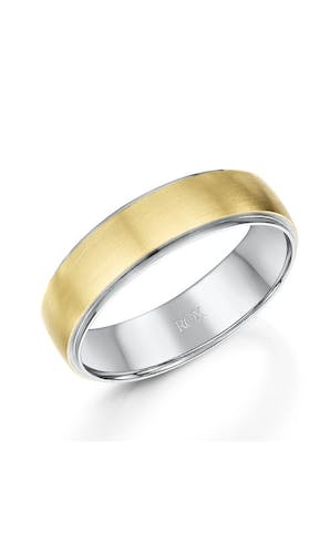 ROX Men's Wedding Rings Gents Palladium and Yellow Gold Wedding Ring 6mm