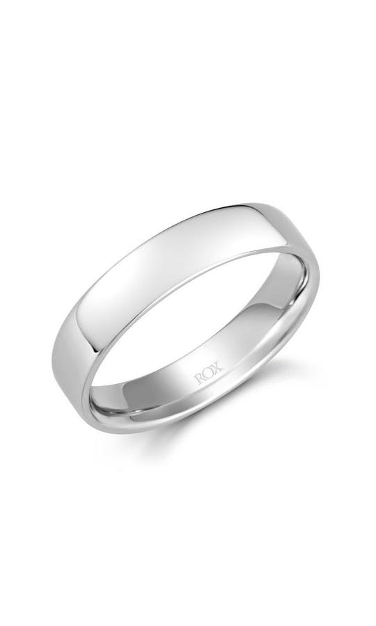 ROX Men's Wedding Rings Gents Platinum Soft Round Edge Wedding Ring 5mm