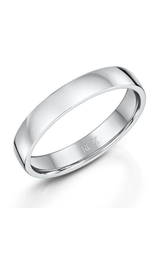 ROX Men's Wedding Rings Mens Platinum Comfort Wedding Ring 4mm