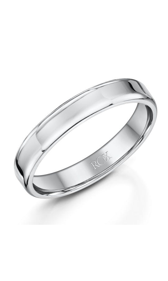 ROX Men's Wedding Rings Gents Palladium Soft Edge Wedding Ring 4mm