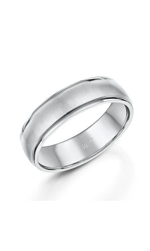 ROX Men's Wedding Rings Mens Palladium Brushed Finish Wedding Ring 6mm