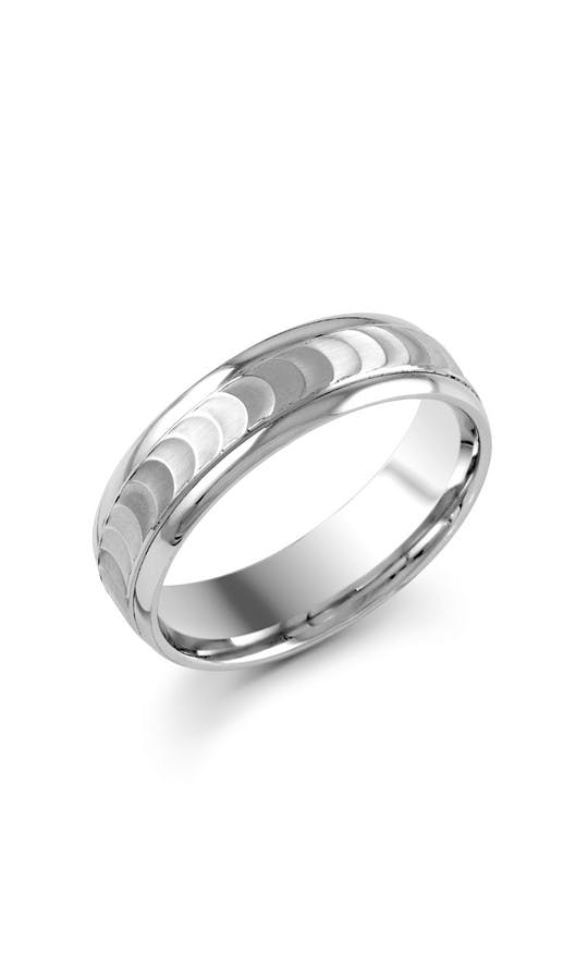 ROX Men's Wedding Rings Gents Palladium Ripple Effect Wedding Ring 6mm