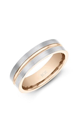 ROX Men's Wedding Rings Gents Palladium and Rose Gold Wedding Ring 6mm