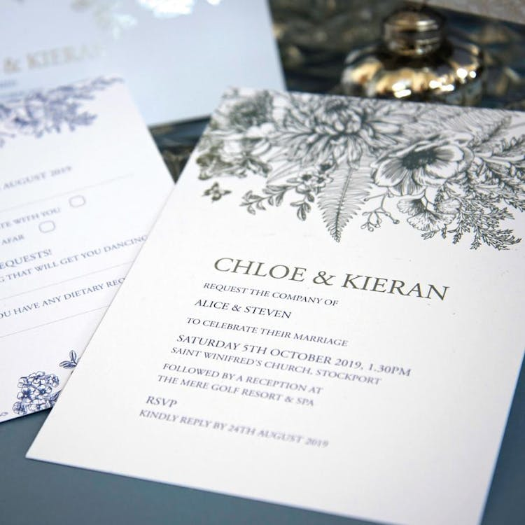Beautiful Butterfly foiled wedding invitation