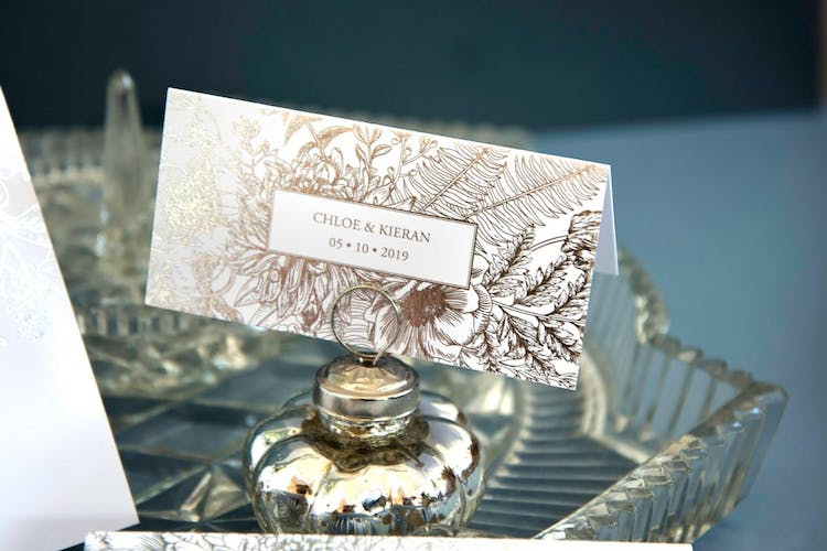 Beautiful Butterflies silver foiled place card