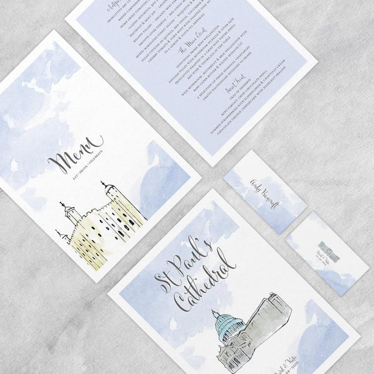London themed illustrated menu and place card