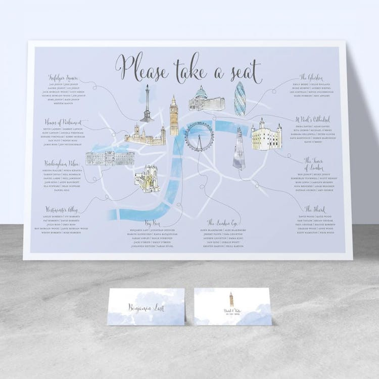 London themed illustrated table plan